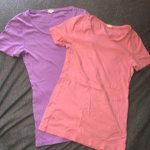Lot of 2 J.Crew 100% cotton pastel color T-shirts